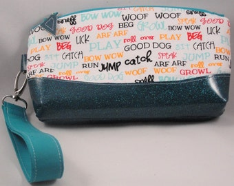 Dog Lovers Wristlet with Teal Glitter Marine Vinyl