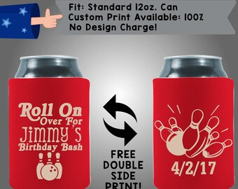 Roll On Over For Jimmy's Birthday Bash Date Collapsible Fabric Birthday Party Can Cooler Double Side Print (Birth4)