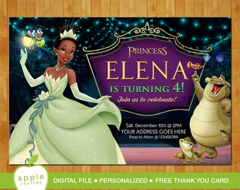 Princess and the Frog Invitation, The Princess and the Frog Birthday Invitation, Disney Princess Tiana, FREE Thank you card