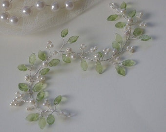 Green Leaf and Ivory Pearl Hair Vine/Accessory Various Lengths  Wedding Prom Party