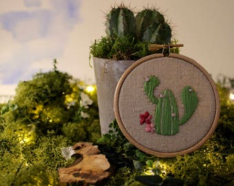 Hand Embroidered Miniature Cactus