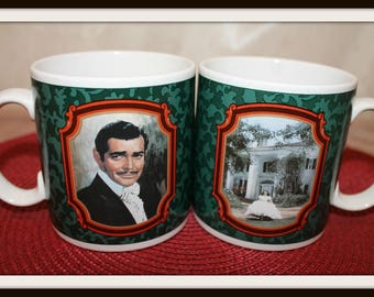 Set of 2 Vintage Gone With The Wind Mugs Featuring Rhett Butler and Scarlett O'Hara, The Heirloom Tradition Mugs, Coffee Mugs, Hollywood