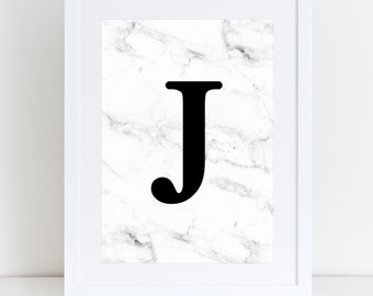 Personalised Marble Background Letter Print
