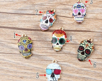 10PCS Skull Charms Skeleton Pendants Diy Jewelry Accessories In Gold Metal 6 different colors