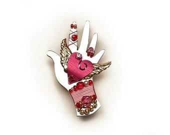 Healing Heart Hand Brooch