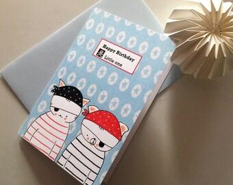 "Folded card for boy- pirates- ""Choumi et Michou : Happy Birthday little one"""