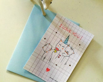 "Postcard unicorn for girl : ""Choumi et Michou, I love you"""