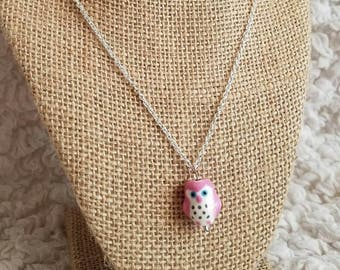 Hoot do you love porcelain owl pendant necklace in pink