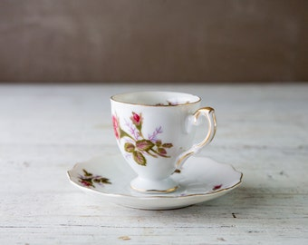 Vintage Flower Pattern Espresso Cup and Saucer-Food Photography Prop