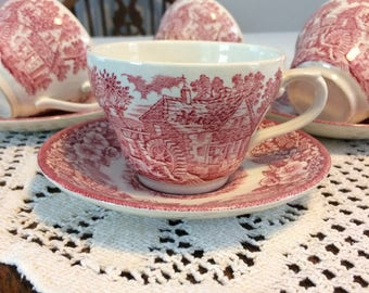Broadhurst Red Transferware, Ironstone Teacups, set of 4