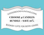 CHOOSE FOUR Book Inspired Candles | Scented Soy Candle | Book Lover Gift | 4oz tin | Vegan | Good Book Hunting