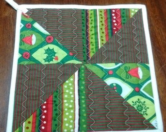 Handmade Quilted Christmas Potholders, hot pads
