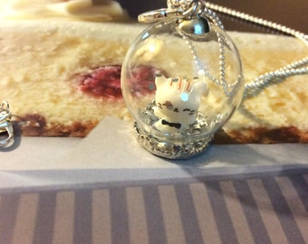 Globe necklace with a kitten on the inside.
