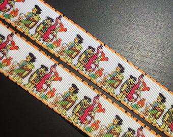 """1, 5 or 10 Yards - 1"""" Flintstones Print Grosgrain Ribbon"""