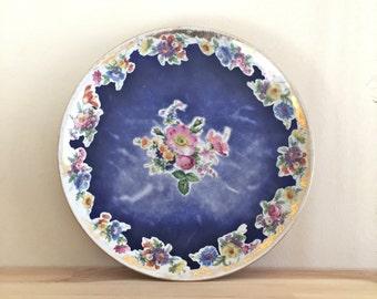 Vintage Platter/Vintage Large Flat Dish/Large Plat/Vintage Serving/Purple Plate/Flower Plate/Vintage Floral/Vintage Porcelain Plate