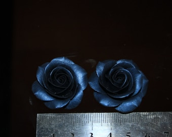 Clay ROSE Dark blue glamor Polymer clay flowers For manual works Clay rose Jewelry supplies