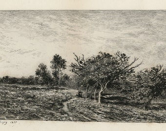 """CHARLES-FRANCOIS DAUBIGNY (French, 1817-1878), """"Pommiers a Auvers"""", 1877, original etching"""