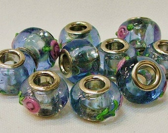 Large Hole Beads set of 10 in Blue with Flowers--#9