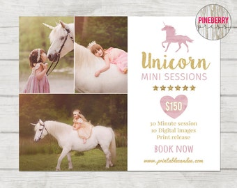 Unicorn Mini Session, Unicorn Photography, Fairytale Mini Template, Child Photography Marketing, Photoshop Marketing Board, Gold Pink