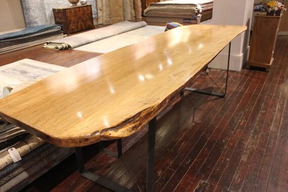 dining table, beautiful single slab live edge maple
