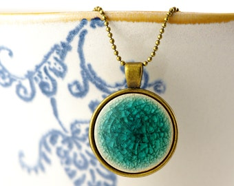 long chain with large ceramic pendant in teal, green, blue or dark blue
