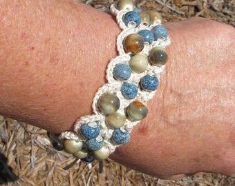 Crochet  Bracelet with Vintage Button Closure