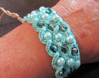 Mint Green Beaded Crochet  Bracelet with Vintage Button Closure