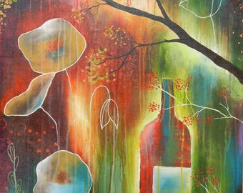 Abstract Landscape Painting, Jewel Tone Abstract Art, Landscape Painting, Romance