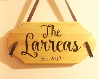 Wood Burned Family Name Signs
