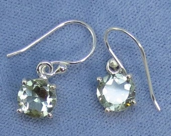 8mm Round Prasiolite Green Amethyst Sterling Silver Earrings - Leverbacks Available - 211136 - Free Shipping to the USA