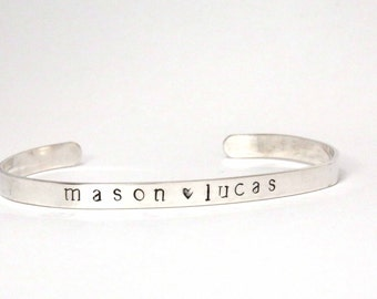Personalized Mother's Bracelet Sterling Silver Cuff, Sterling Silver Cuff Stacking Bracelet, wedding and bridesmaids gifts