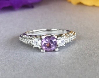 Art Deco Round Genuine Amethyst Diamond Simulated Solid Sterling Silver Engagement Ring, Round Sterling Silver Purple Amethyst Promise Ring
