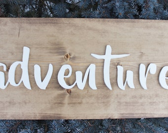 adventure sign, wood sign, home decor, word of the year sign