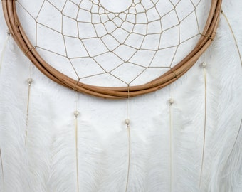 Large White Handmade Feather Wallhanging Dreamcatcher Boho Dream Catcher Nursery Dream Catcher Bohemian Home Decor Feather Dream Catcher