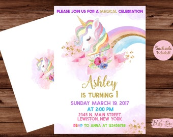 Unicorn Invitation -Rainbow Unicorn Invitation - Unicorn Invite - Unicorn Party Invitation- Unicorn Birthday Invitation.