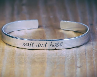 Wait And Hope / Inspirational Quote Jewelry / The Count Of Monte Cristo / Literary Jewelry / Literary Gift / Literary Bracelet