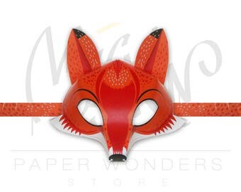 Fox mask. Fox masquerade mask.Fox printable mask. Fox party favors. Fox birthday. Fox costume. Paper mask. Animal masquerade mask. Fox party