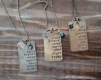 Hero, Law Enforcement Metal Stamped Necklace