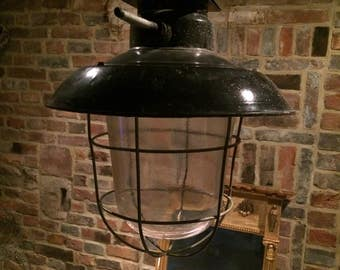 Vintage 1930s French industrial factory lamp pendant