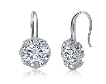 Vintage Stage High Quality Decó Round Clear White Cubic Zirconia CZ Rhodium Plated Drop/Dangle Earrings Wedding-Gift-Jewelry