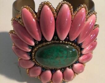 Flower Power Brass Cuff Bracelet