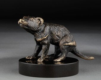 TASMANIAN DEVIL Bronze Sculpture Miniature - Tasmanian Iconic Animal - Tassie Devil - Original Gift from Tasmania - Marble base option