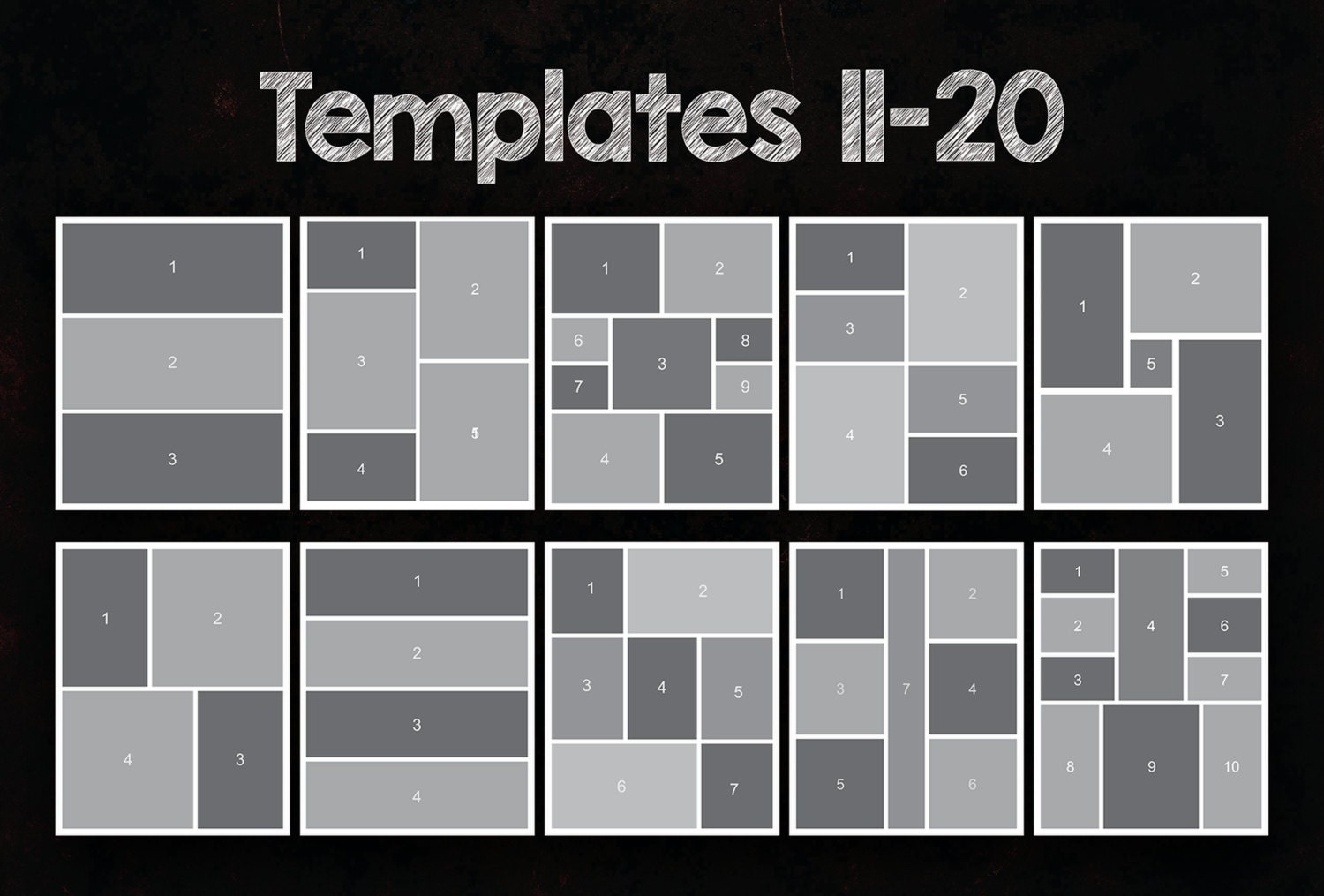 8x10 photo collage templates pack  25 psd templates