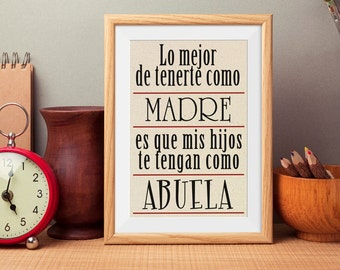 Abuela Or Abuelo Burlap Print/Spanish/ Grandparenet/Familia/FamilyPrint/Love*****FREE DOMESTIC SHIPPING*****