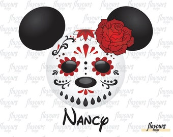 Minnie Sugar Skull - Halloween - INSTANT DOWNLOAD - Family Vacation Iron On Transfer - DIY Disney Shirts