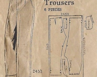 """Vintage 1940's Sewing Pattern Men's Flannel Trousers WWII WW2 Waist 32"""" Very Rare"""