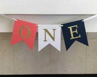 One Birthday Banner, First Birthday Banner, 1st Birthday Banner, Gold, Coral and Navy, Baby's First Birthday, Photo Prop