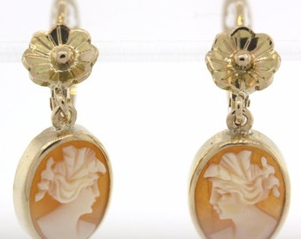 Vintage 14 Yellow Gold Cameo Drop Earrings With Floral Detail - 4.4 GRAMS