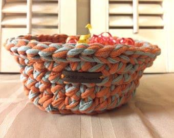 Recycled Tshirt yarn crocheted round basket. orange & light gray. Housewarming Gift / Graduation / Home Decor/ Catch All Basket / Beauty