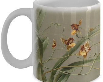 Coffee mugs w/ orchids flowers: botanical prints - Oncidium loxense
